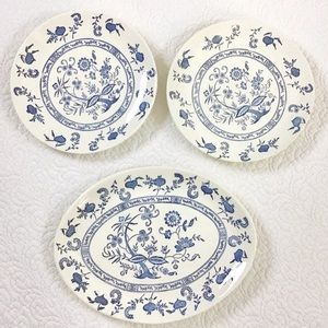 3 Blue and White Chinese Styled Printed Plates